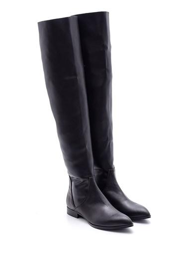 Derimod Deri Diz Üstü Çizme Siyah